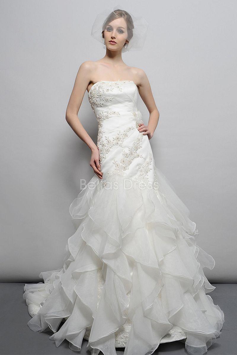 Dropped waist wedding dress  Modern Floor Length Organza Fit N Flare Strapless Dropped Waist