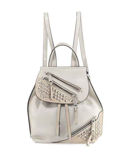 a341a4ffb9b1 Studded Zip Leather Flap Backpack