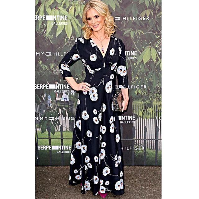 The beautiful @emiliarosefox photographed at the Serpentine Gallery summer party this evening  wearing our Lisa Hayward print dress..x #serpentinegallery #summerparty #emiliafox #italiancloth #silkprint #madeinlondon #Britishactress #beautifulwoman #teadress #longsilkdress  #1930sinspired