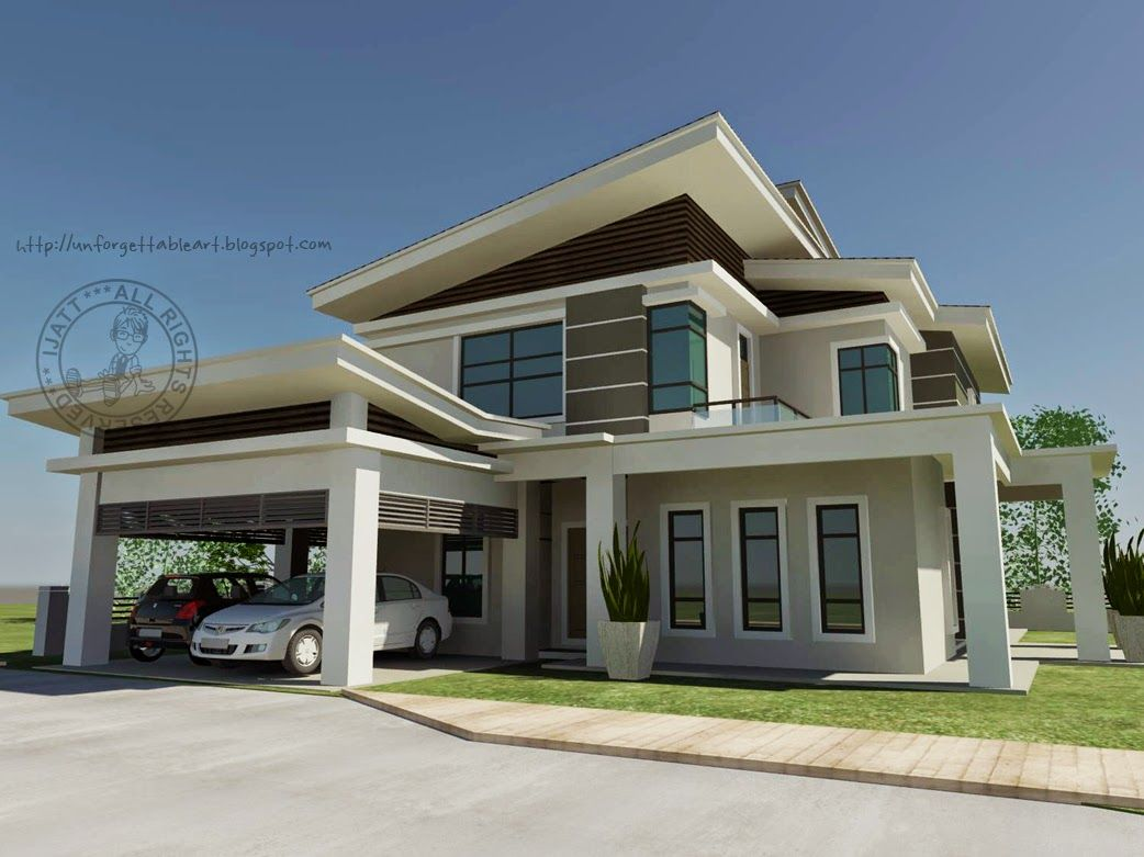 Banglo 2 Tingkat Moden Dream House House Styles House Design