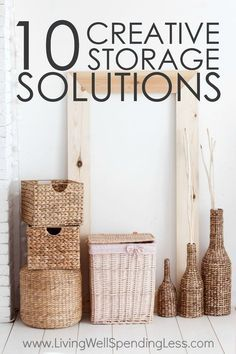 Running out of space to store (or hide) all your stuff? Don't miss these 10 creative storage solutions for making more room and getting more organized in every area of your home! via @Living Well Spending Less