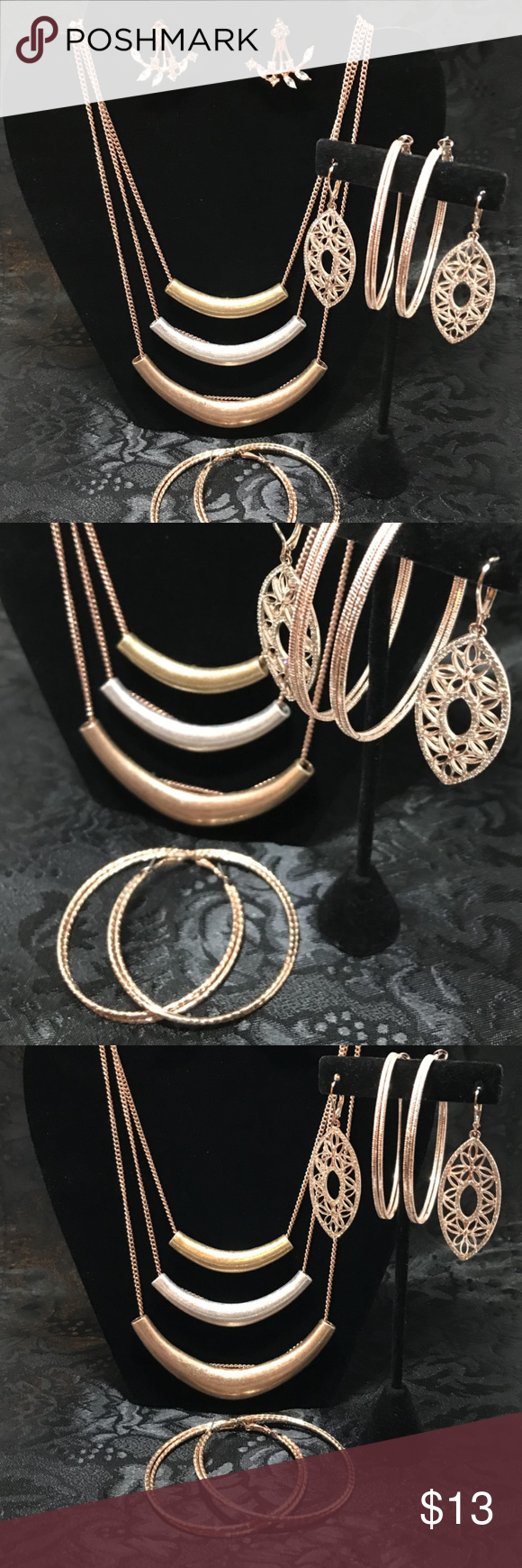 Multi Strand Rose Gold Necklace 4 Pair Earrings Rose Gold Necklace Womens Jewelry Necklace Gold Necklace