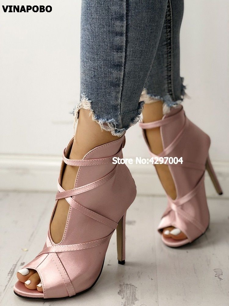 d32d712d90a Vinapobo New Sexy Open Toe Cut-out Bandage Cross tied Lace Up Ankle ...