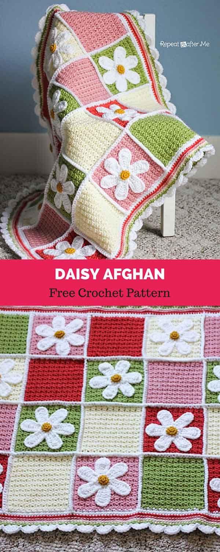 Daisy Afghan [ FREE CROCHET PATTERN | Crochet | Pinterest | Manta ...