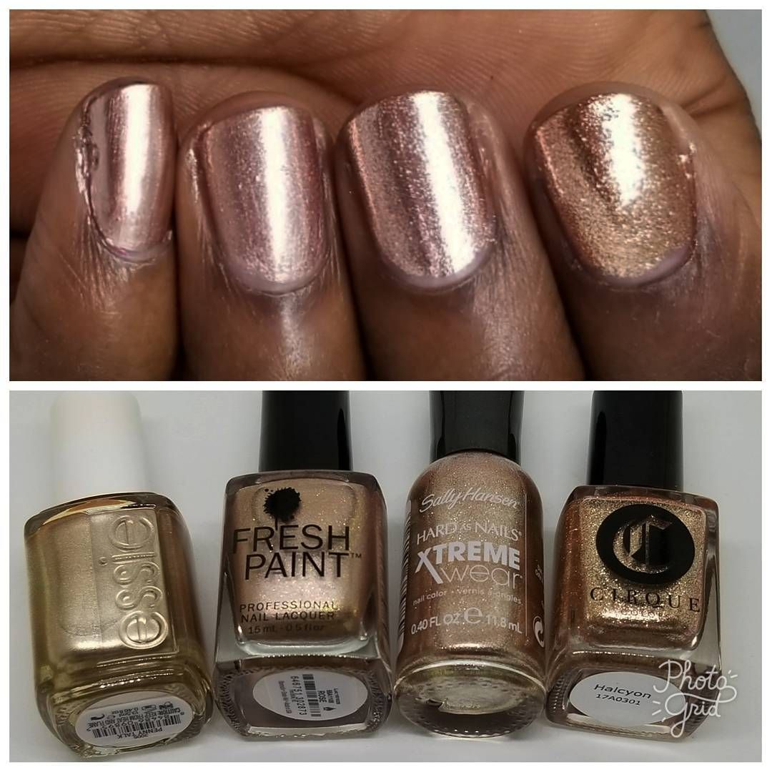 Rose gold nail polish on dark skin. L to R: Essie \
