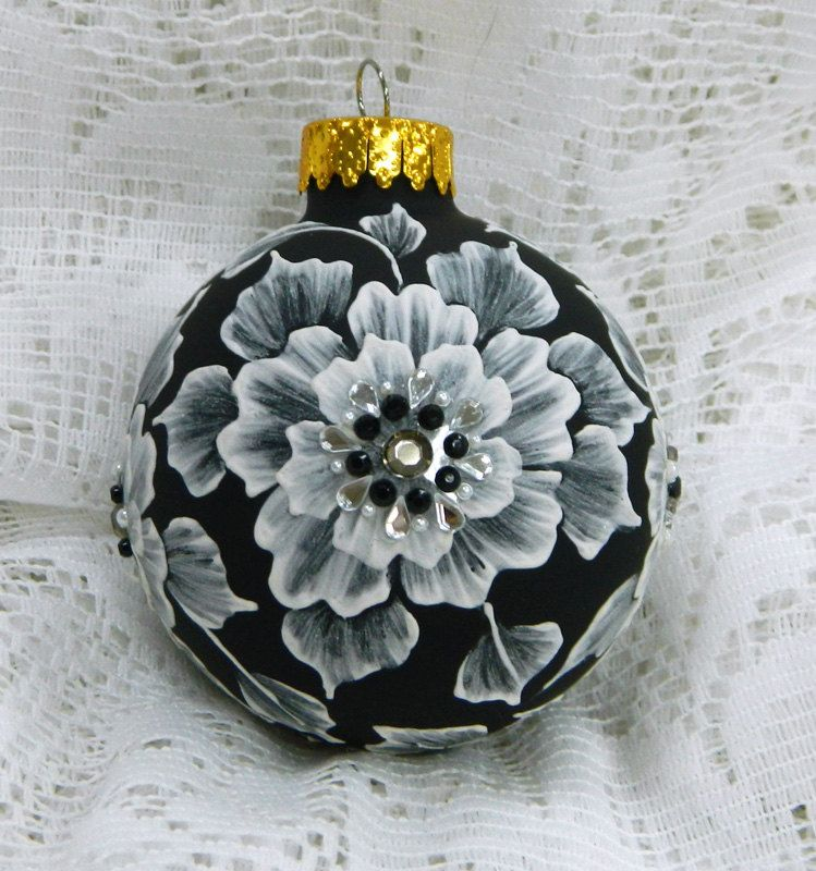 Black MUD Ornament with Flowers and Rhinestone Bling. , via Etsy.