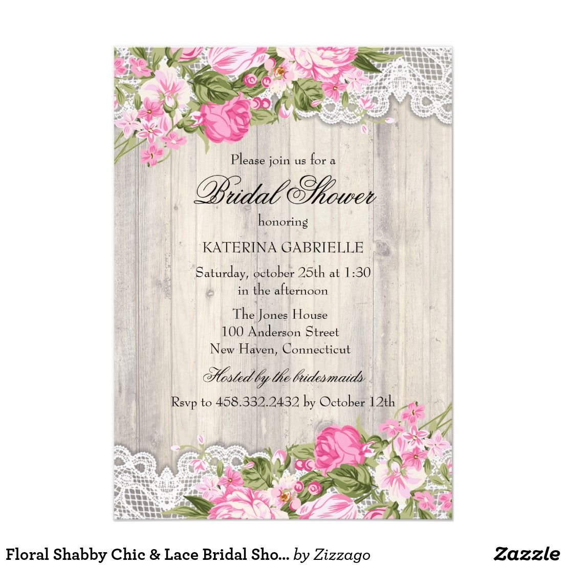Floral shabby chic u lace bridal shower invite country style