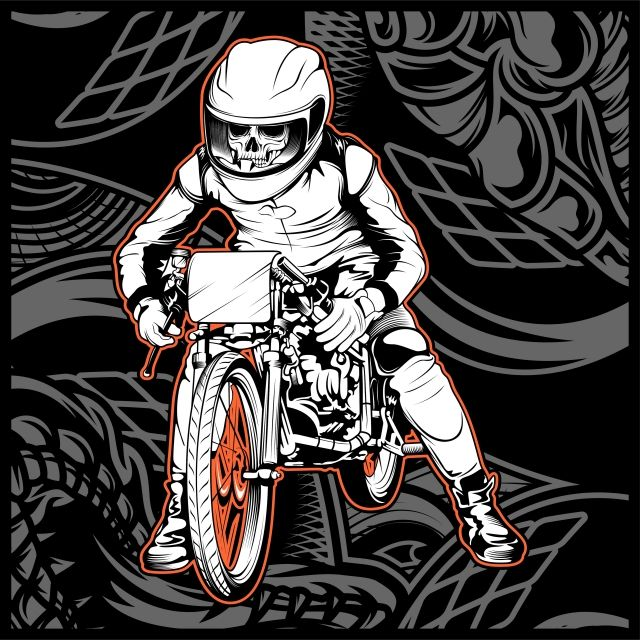 Skull Riding A Motorcycle Ready For The Race Helmet Collection