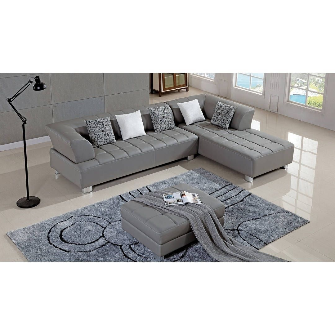 American Eagle Grey Bonded Leather Living Room Sectional