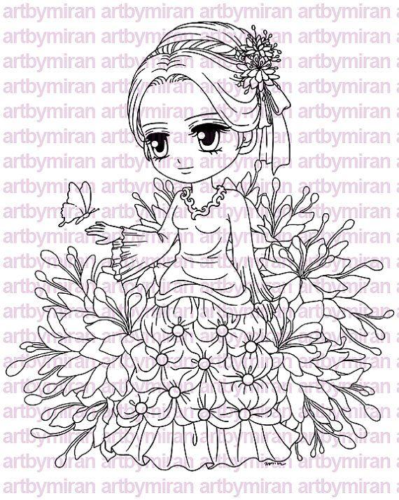 Digital Stamp  Lady Papillon Digi Stamp Coloring by artbymiran, $3.00