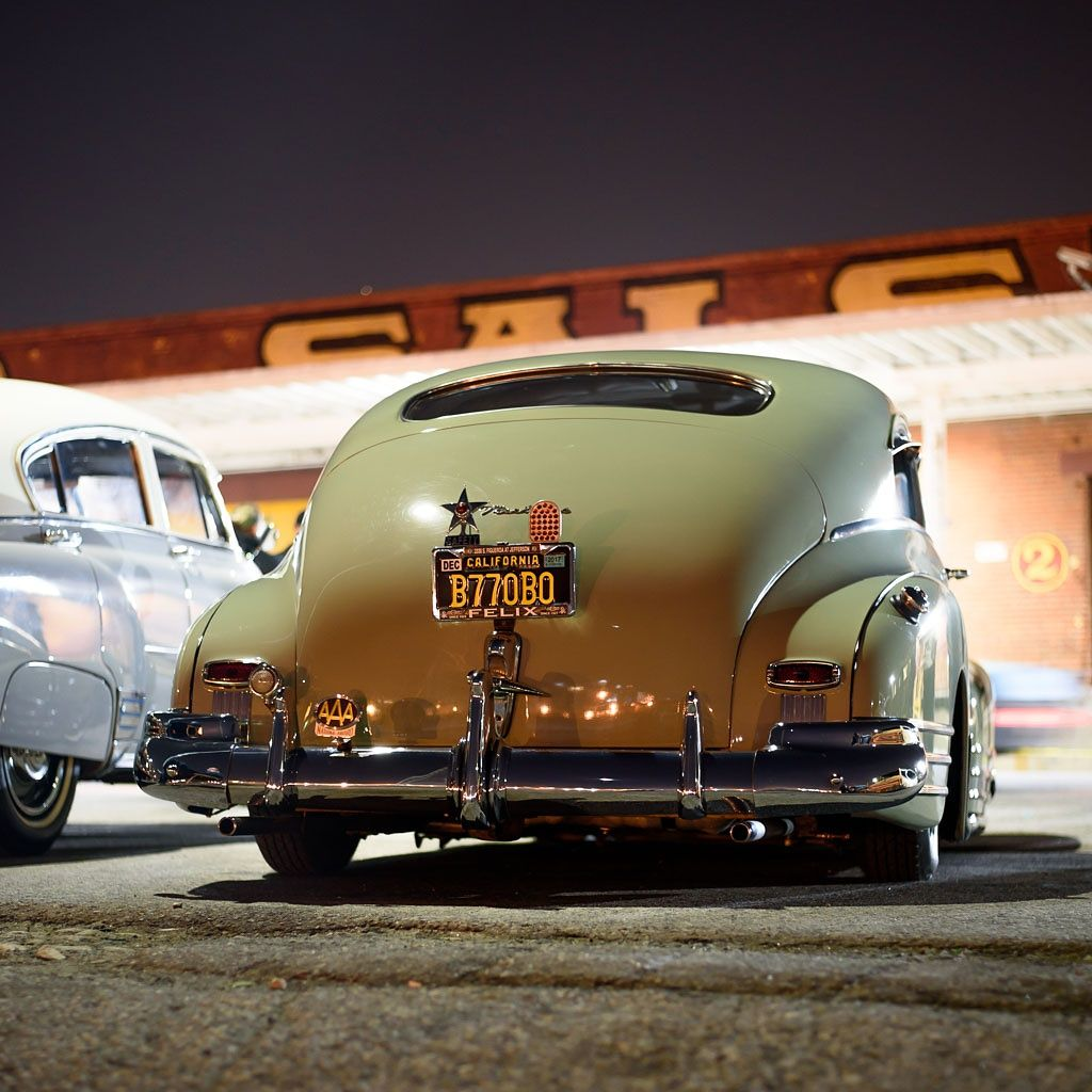 Parked Slope 1947 Or 1948 Chevrolet Fleetline Aerosedan Many