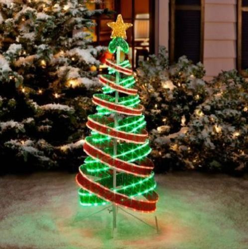 Outdoor Christmas Ribbon.4 Foot Lighted Outdoor Green Red Tube Light Ribbon Christmas