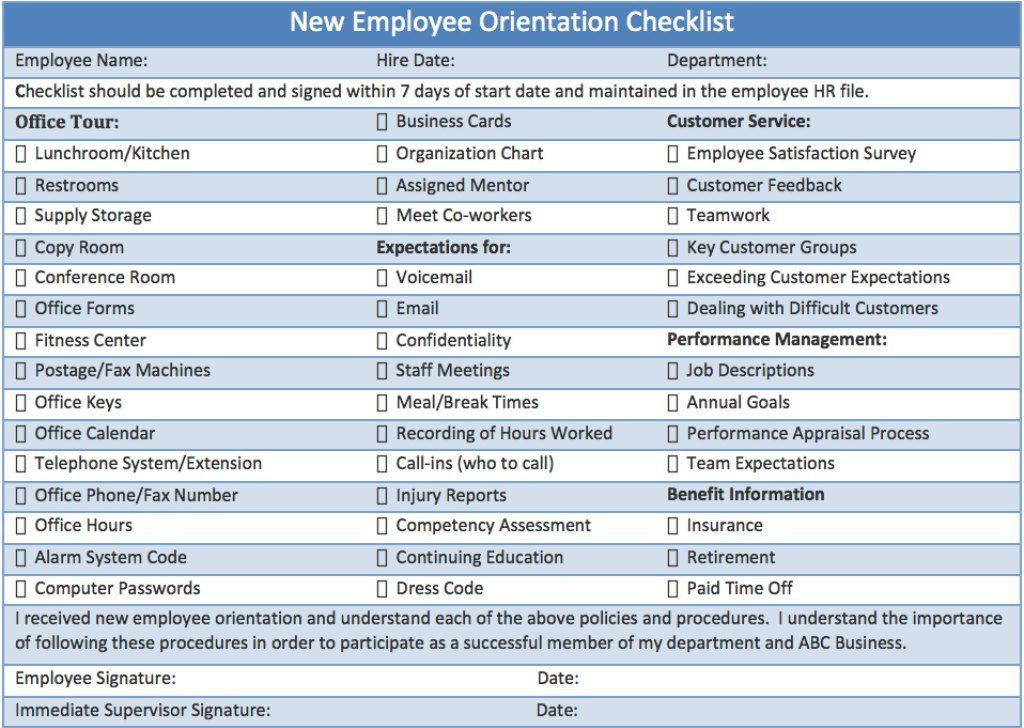 New Employee Orientation Checklist  Career Info