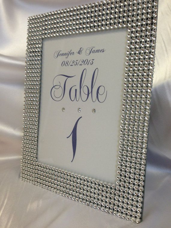 Bling Wedding Rhinestone Trimmed Table Number Frames Size 5x7 Personalized On Etsy 775