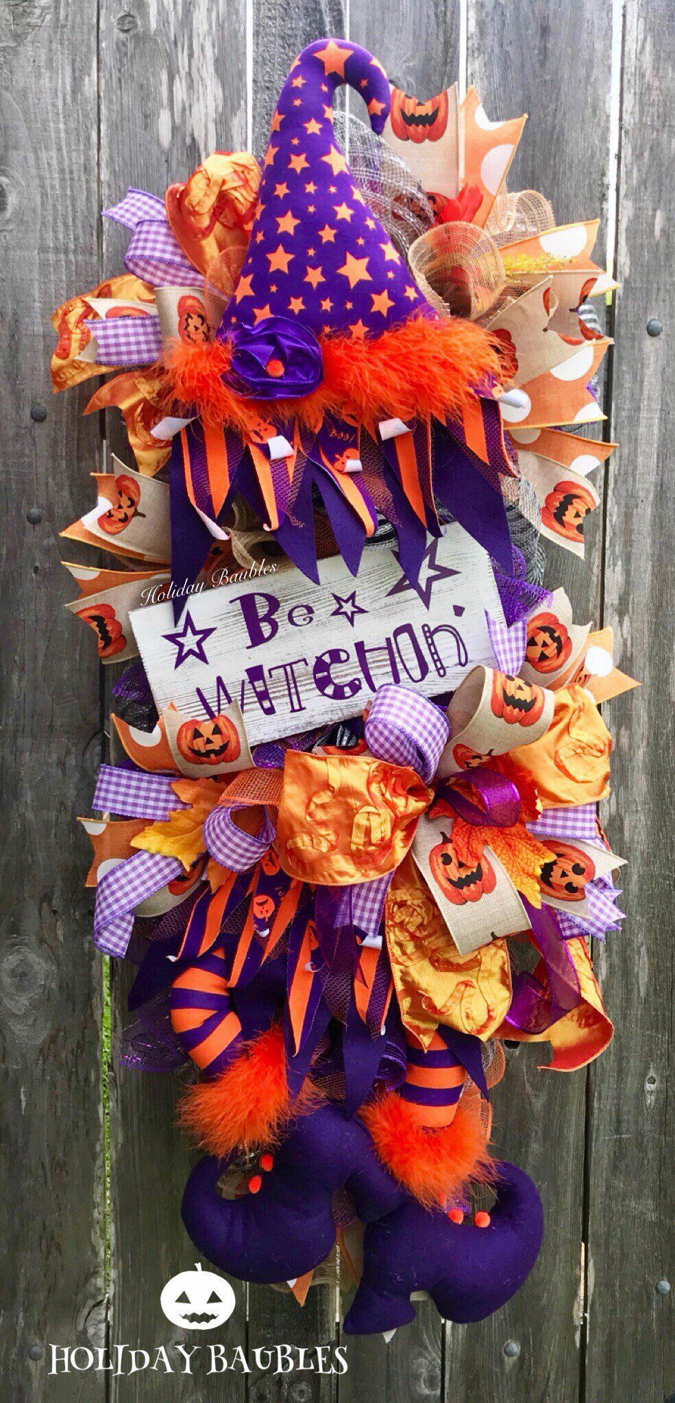 Halloween Wreath, Halloween Witch Swag, Halloween Swag, Happy - Whimsical Halloween Decorations