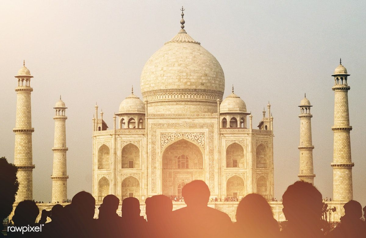 View Of Taj Mahal With Tourist Silhouettes Free Image By