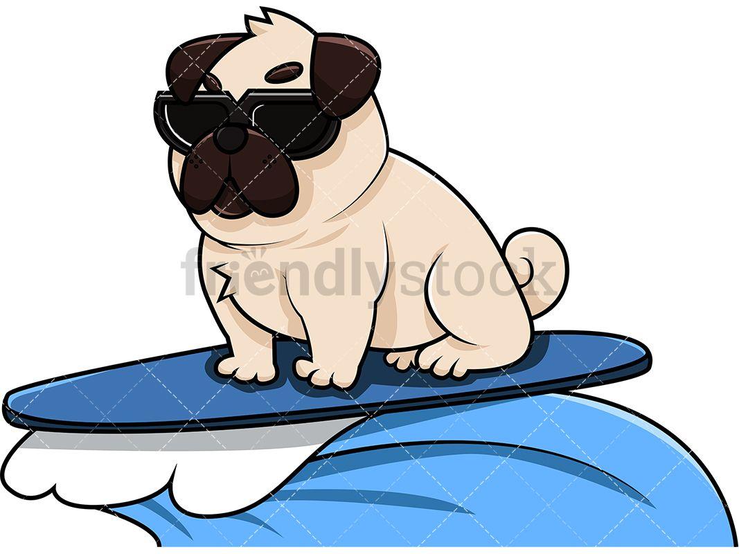 Cool Pug Dog Surfing Pugs Dogs Animals