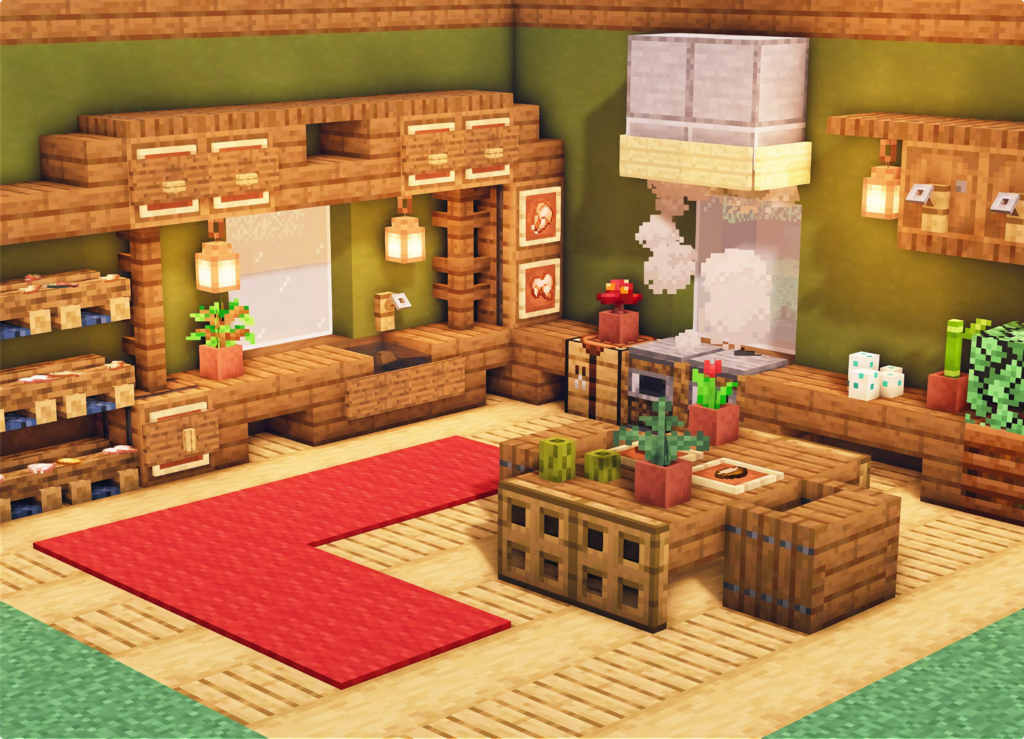 Cool Kitchen Interior in 2020 Minecraft house designs