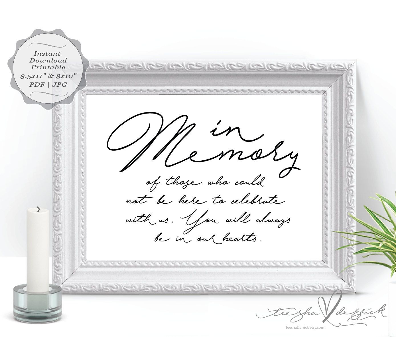 in loving memory wedding memorial table sign, (ted337_4) instant, Powerpoint templates