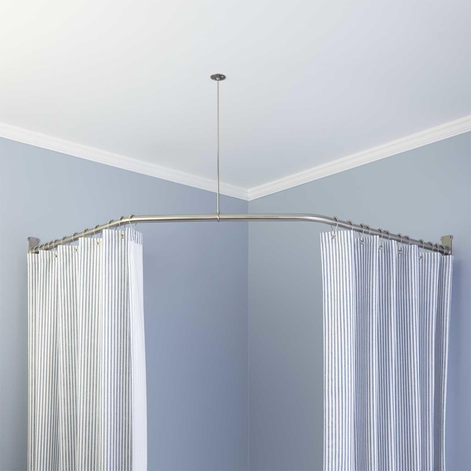 Neo Angle Solid Brass Shower Rod And Ceiling Support Shower Curtain Rods Bathroom Shower Curtain Rods Neo Angle Shower Shower Rod