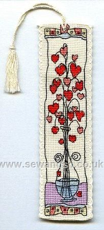 Buy Hearts in Glass Vase Bookmark Cross Stitch Kit online at sewandso.co.uk