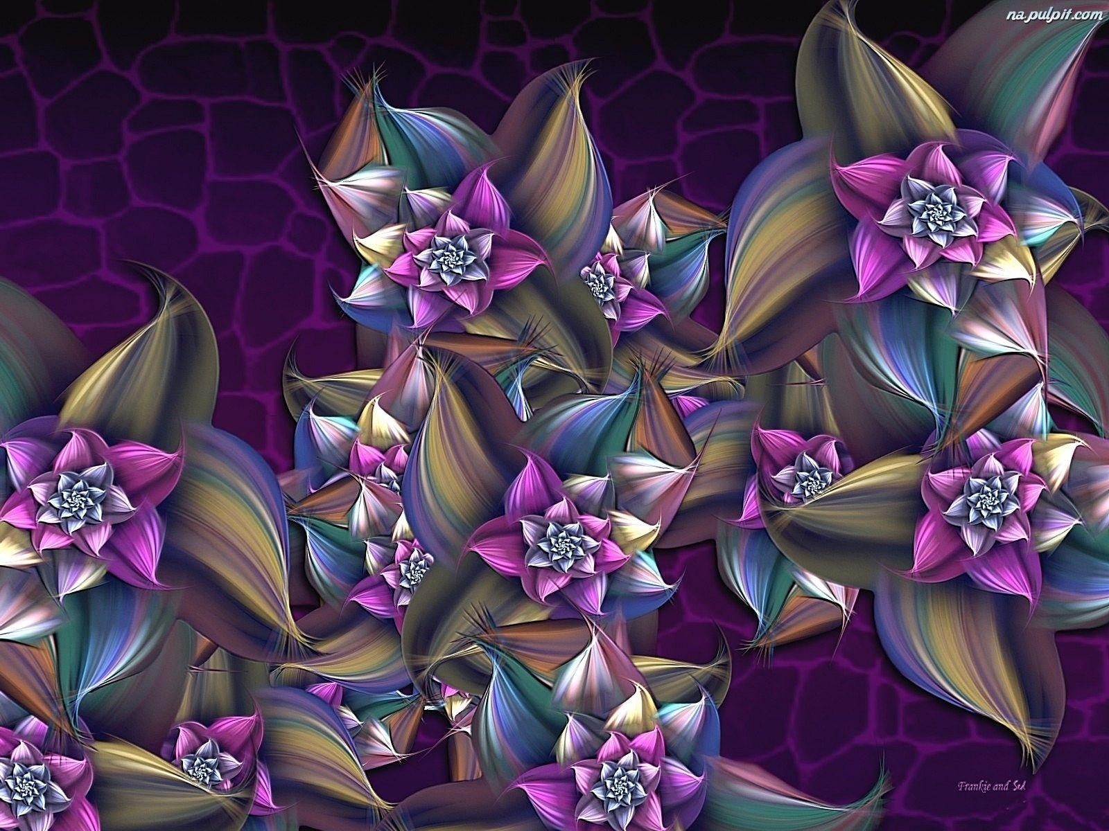 Grafika Kwiaty Fioletowe Fraktal Fractals Wallpaper Crown Jewelry