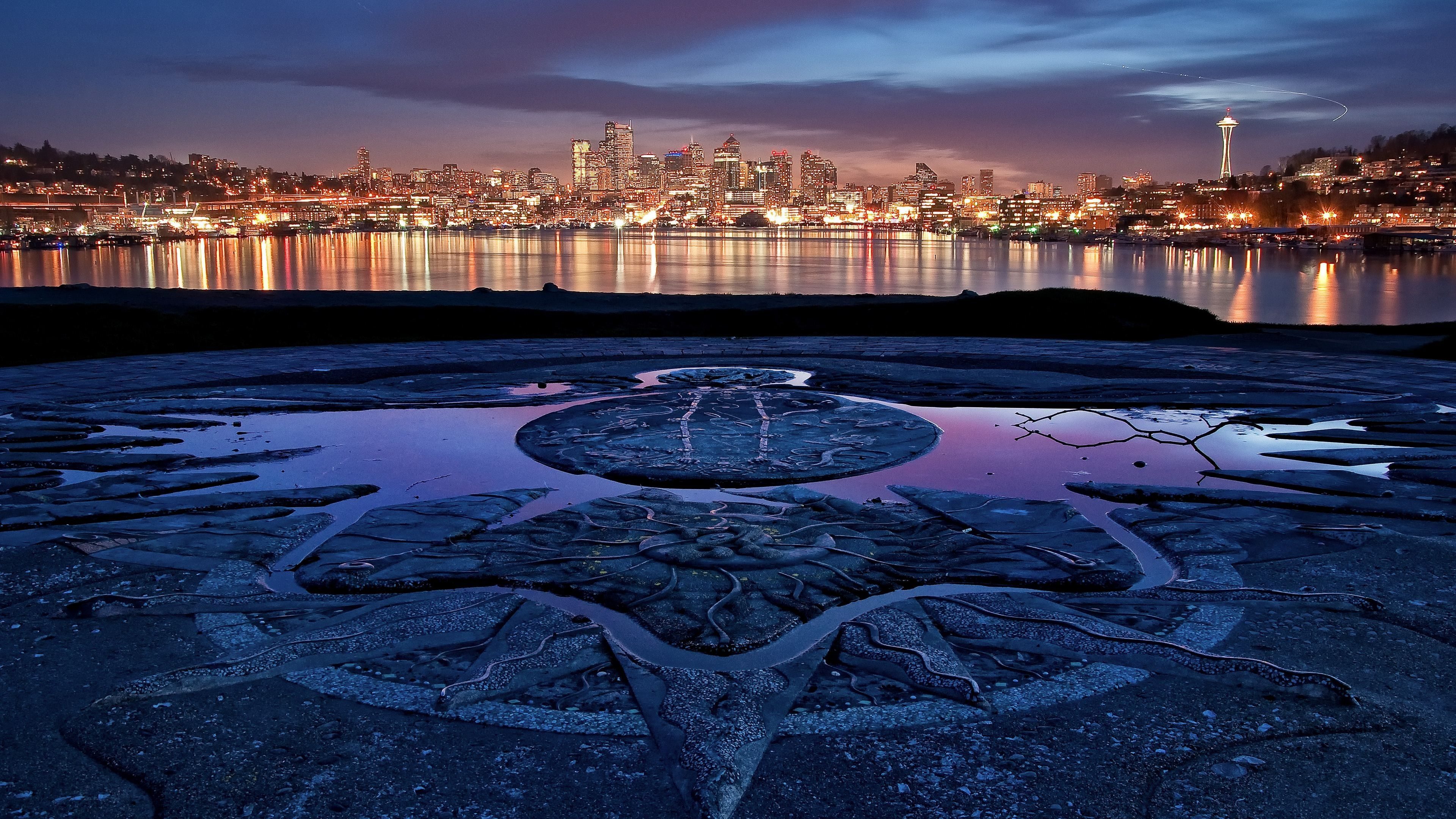 Seattle Night Water Lights Ultra Hd Wallpaper Imgprix