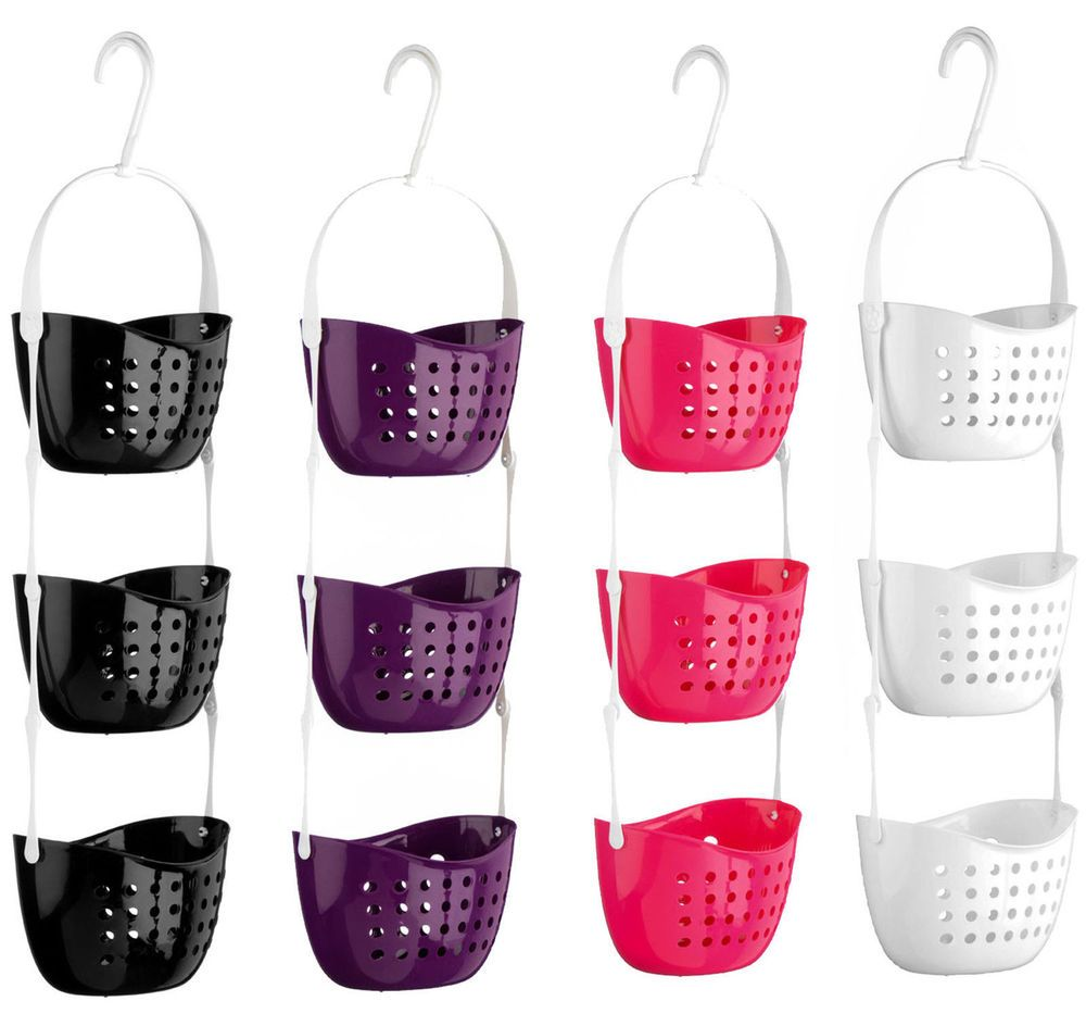 3 tier plastic shower caddy bath rack hanging basket unit shower ...
