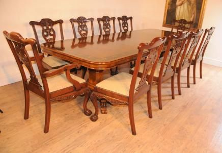regency pedestal table set chippendale dining chairs suite - Set Of Dining Chairs
