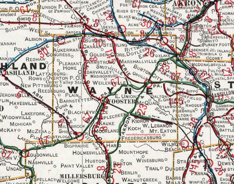 Wayne County Ohio 1901 Map Wooster Orrville Apple Creek Dalton Mount Eaton Shreve Madisonburg Marshallville Smithville Wayne County Ohio Map Ohio