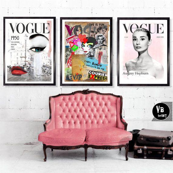 Vogue Set Of  X A And A Posters Vogue  Audrey Hepburn Vintage Wall Art Fashion Art Vogue Cover Vintage