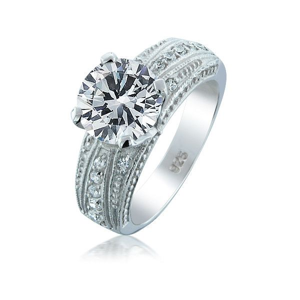 Vintage Style 925 Sterling Silver 4-Prong Round Engagement Ring |... via Polyvore