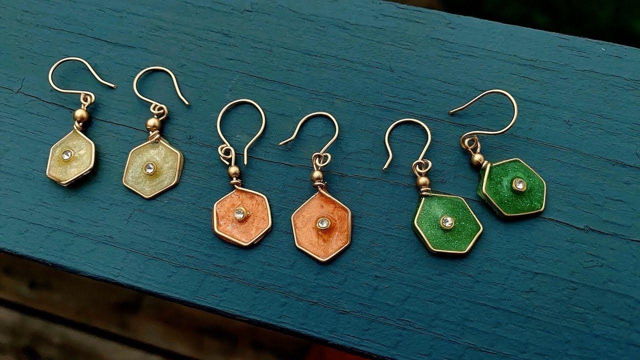 diy resin earrings/making cute and simple uv resin