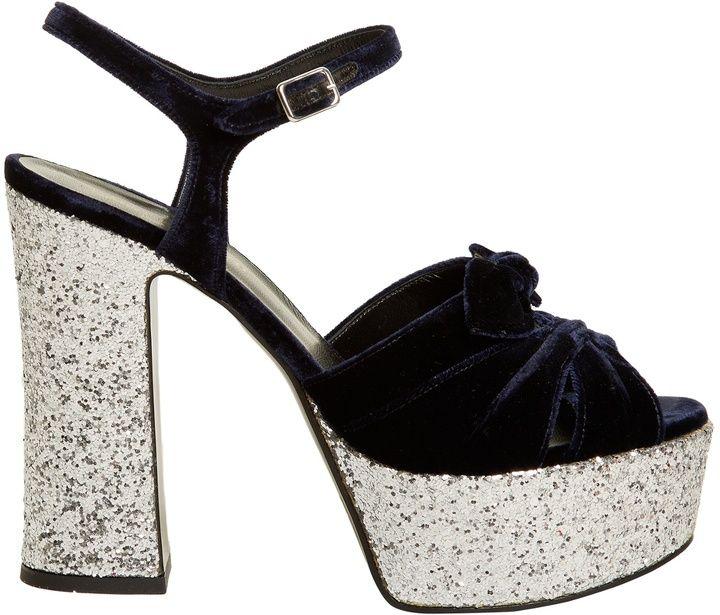 SAINT LAURENT Candy bow-detail velvet platform sandals Heels Party Shoes  Sparkle Heels  ysl 8181da62de