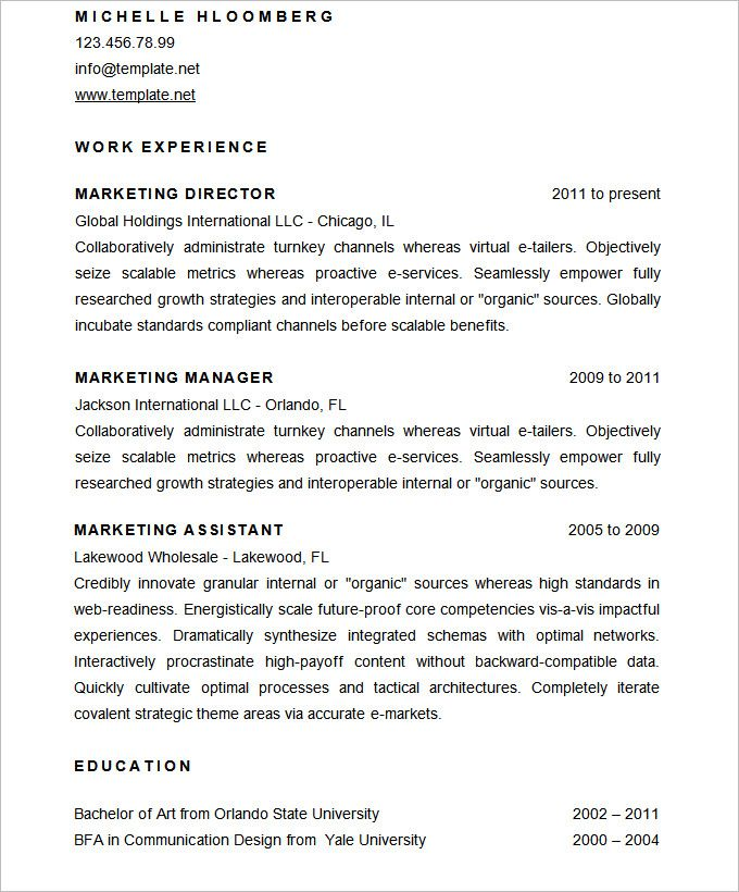 Sample Marketing Director Resume CV Template , Mac Resume Template - examples of marketing resumes