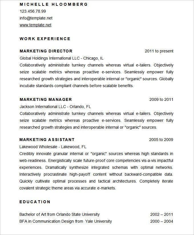 sample marketing director resume cv template   mac resume