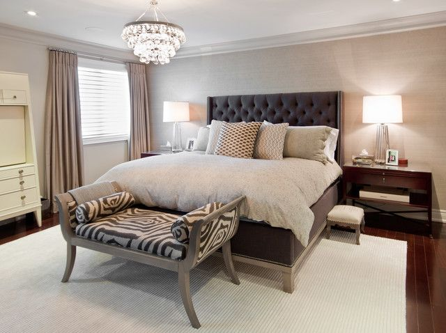 Bedroom: Modern Elegant Bedroom Idea With Black Tufted Headboard Design And  Zebra Bench On Darkwood