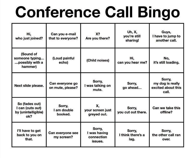 Conference Call Bingo Conference call bingo, Conference