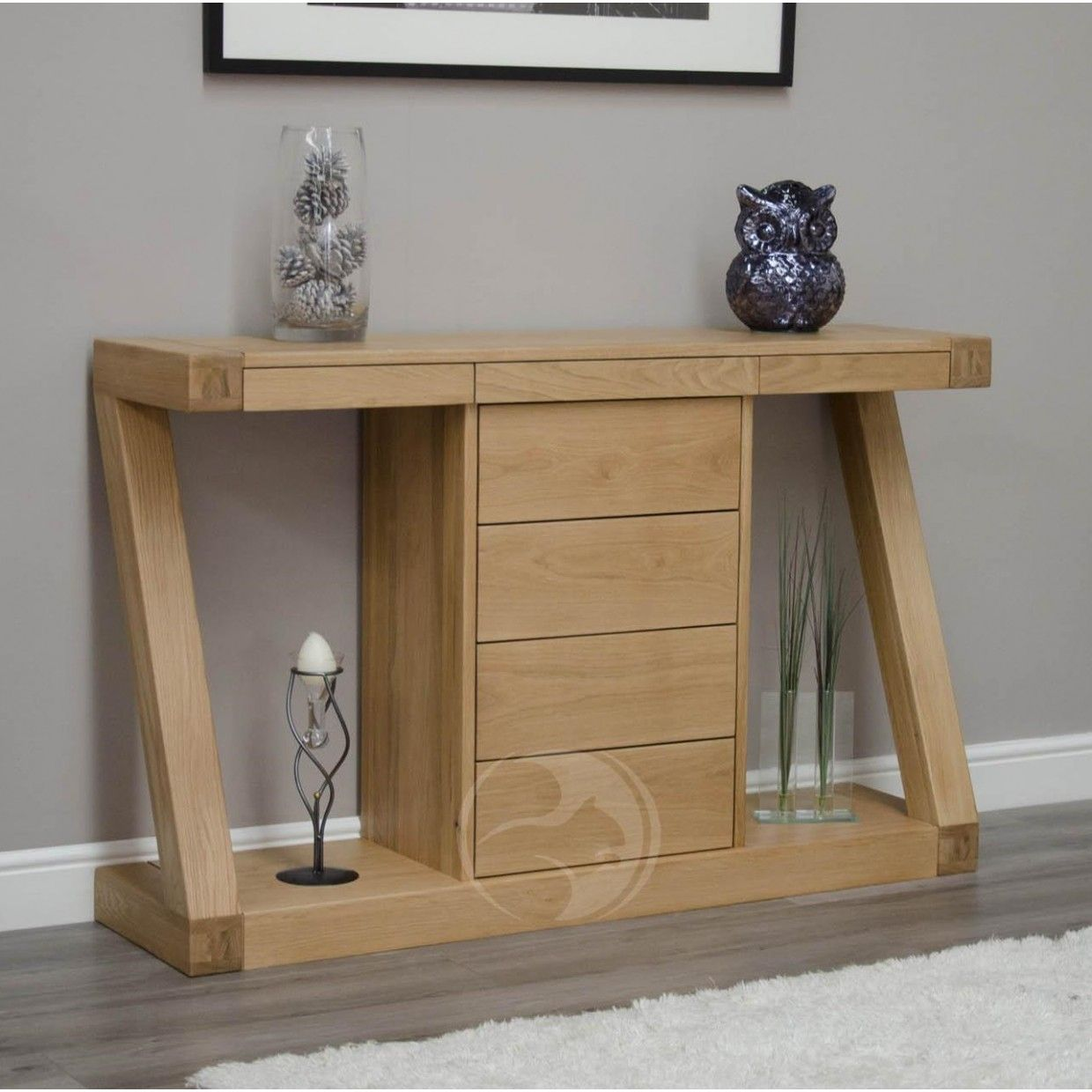 Z Shape Solid Oak Large Hall Console Table With Drawers Furniture Uk
