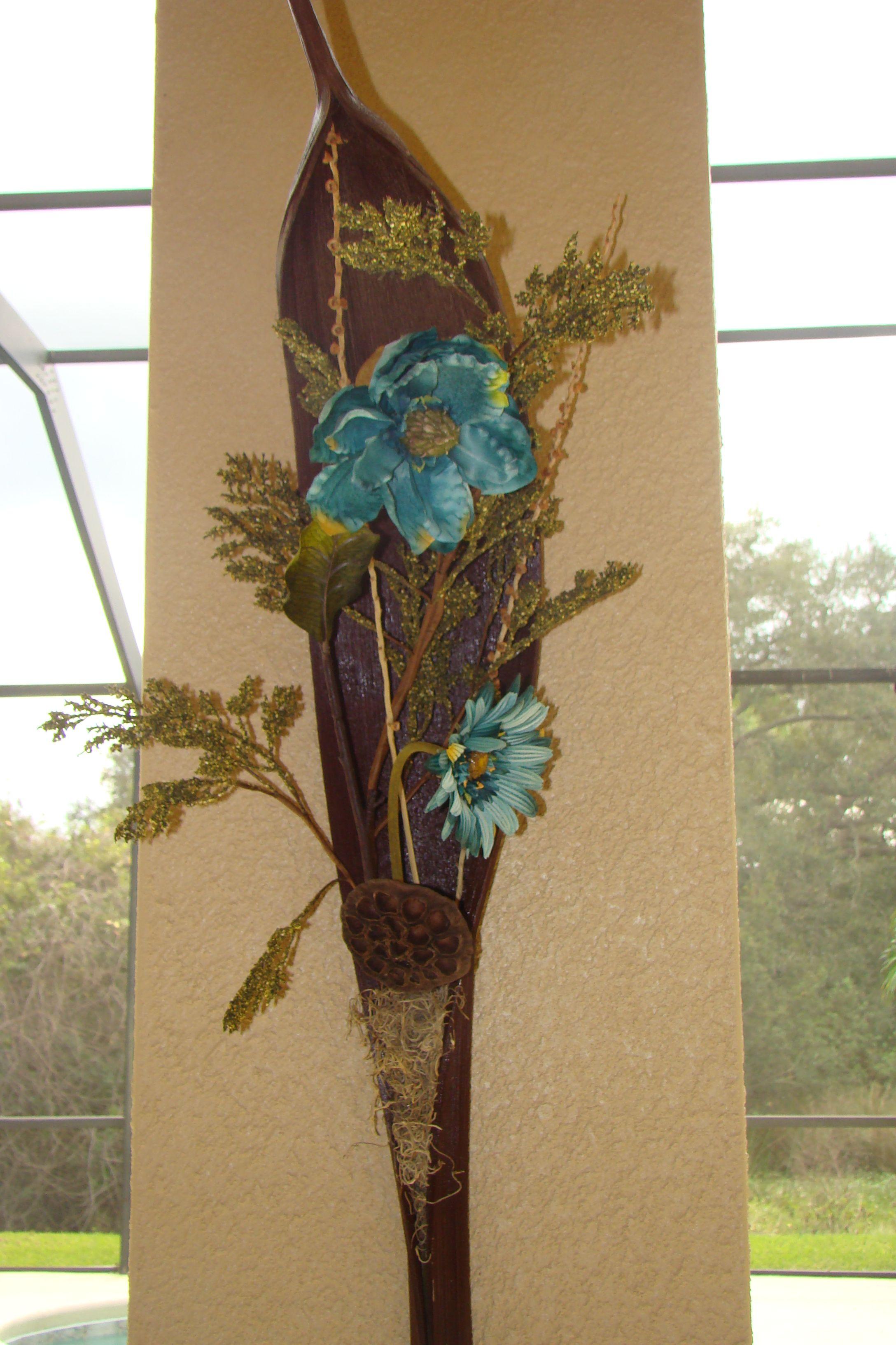 Seed Pod Of Palm Tree With Silk Flower Arrangement Flower