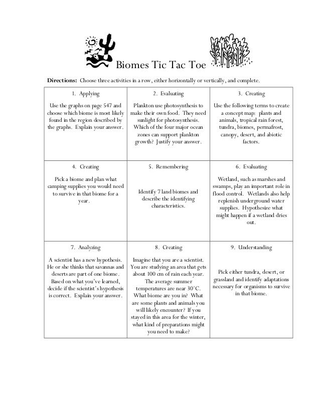 Biome tic tac-toe choice board by ShaunaBristol via slideshare - sample tic tac toe template