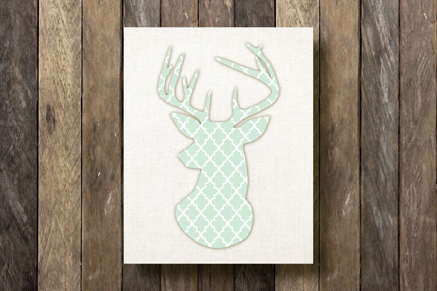 Stag Head Silhouette  8x10 Printable  Mint by TheLionAndTheLark, $5.00