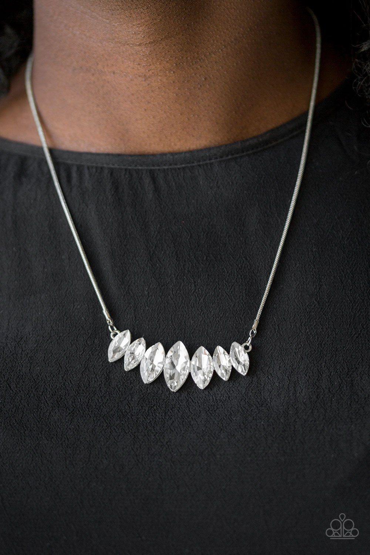 """Debutante Drama"" Silver//White Teardrop /& Round Rhinestone Collar Necklace Set"