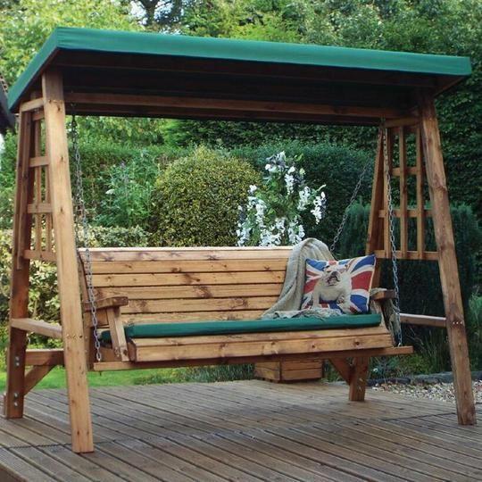 Hand Crafted Devon Three Seater Wooden Garden Swing in ...