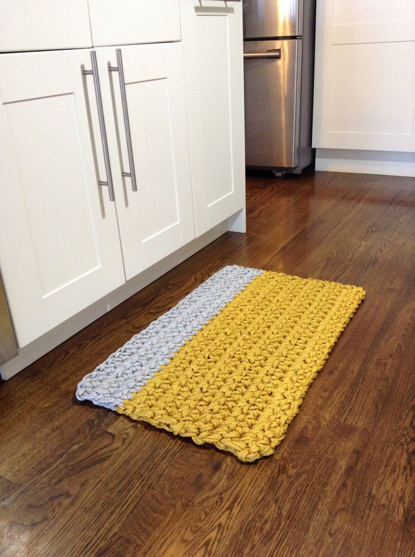 nautical modern yellow and grey crochet rope rug, kitchen