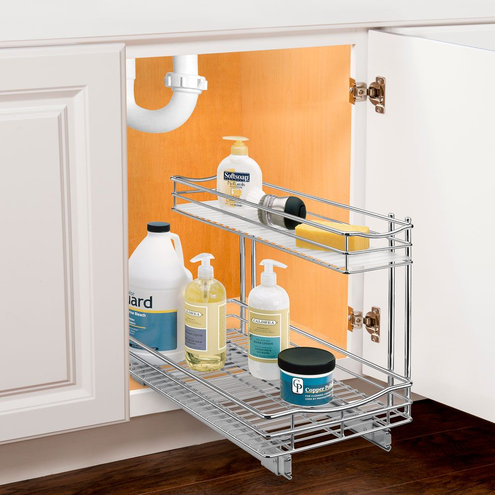 Pull Out Under Sink Organizer Chrome Schrankorganisation Waschbecken Küchenschrank Organisation