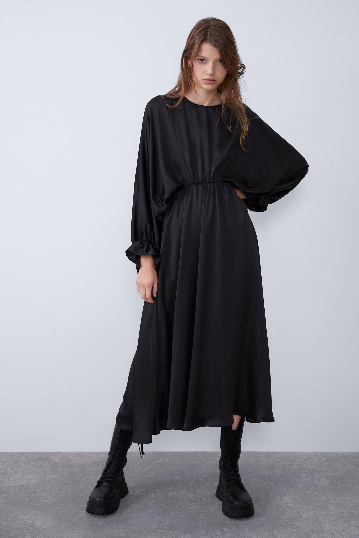 zara - damen - weites satiniertes kleid | kleider