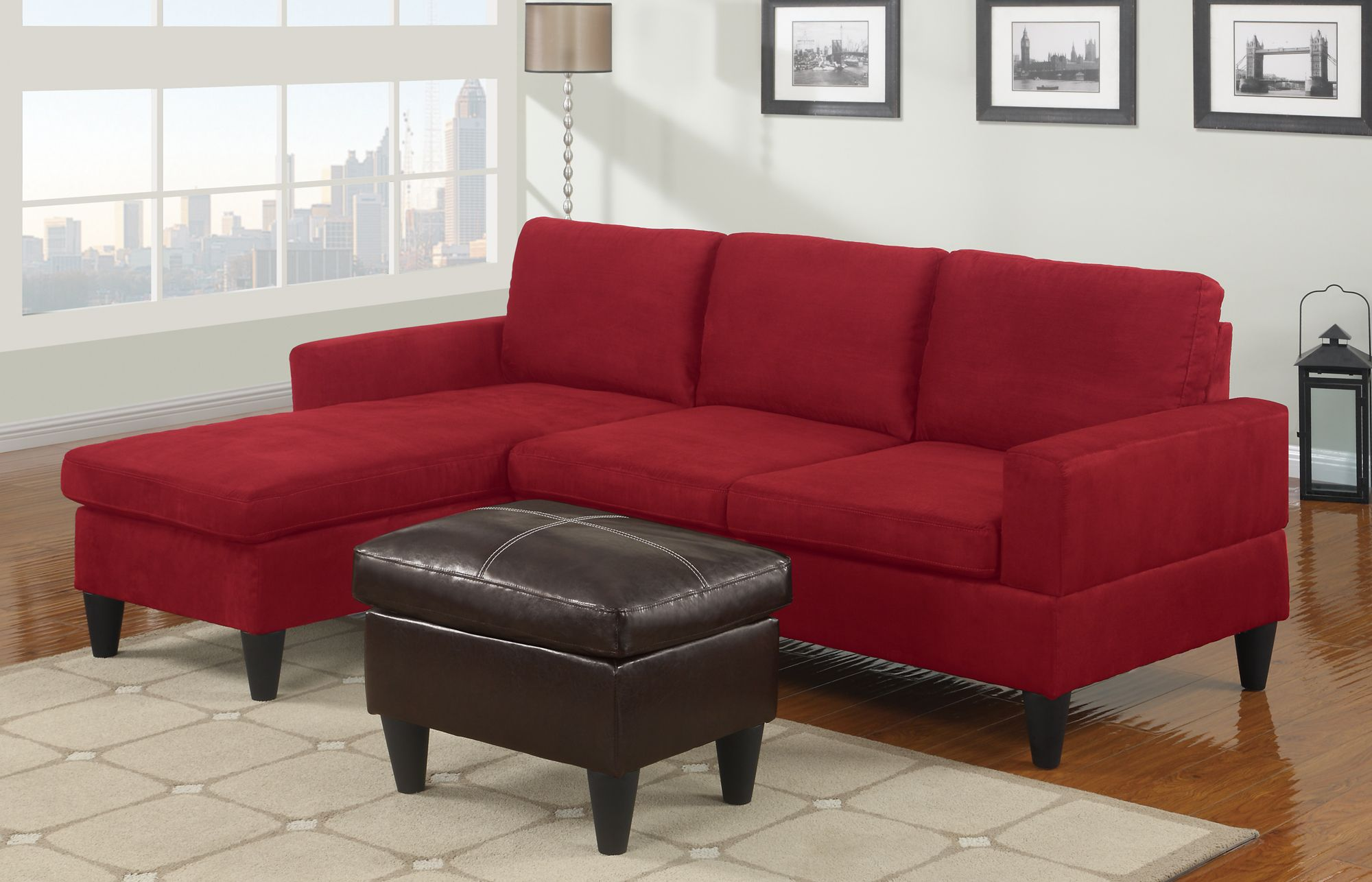 Red Microfiber Sectionals Highlight Your Living Room With Images