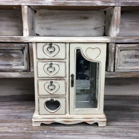 ADORABLE JEWELRY BOX White Distressed Wood by ShabbyShores