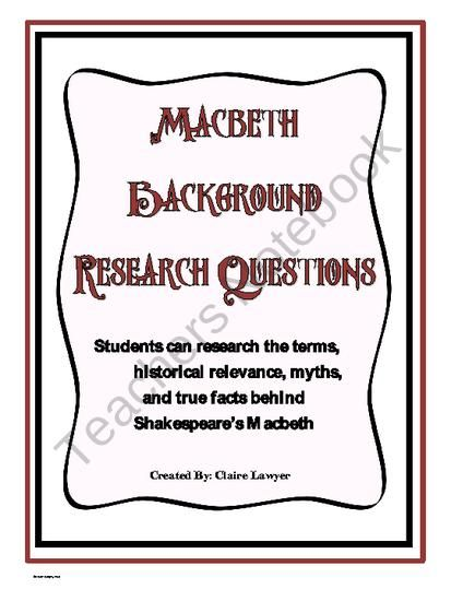 Macbeth Background Research Questions From Different Drummer